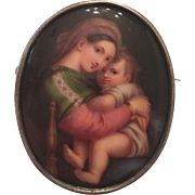 Antique Victorian Hand Painted Porcelain Portrait Miniature of Raphael's Madonna Della 800 Silver Brooch