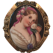 Antique Victorian Hand Painted Woman Holding Flower on Porcelain Portrait Gold Filled Brooch