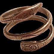 Vintage Northwest Coast Native American Tlingit EJ Towle Sterling Silver Snake Ring