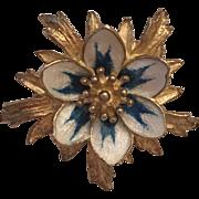 Vintage Norwegian Hroar Prydz Sterling Silver White & Blue Enamel Flower Brooch Norway