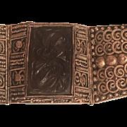 Vintage Asian Chinese Export Silver Bat Carved Smoky Quartz Filigree Bracelet
