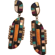 Vintage Native American Mosaic Turquoise, Sugalite, Mother of Pearl, Onyx, Lapis, & Spiny Oyster Inlay Inlaid Statement Dangle Earrings