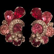 Vintage Eisenberg Pink, Clear, & Red Rhinestone Earrings