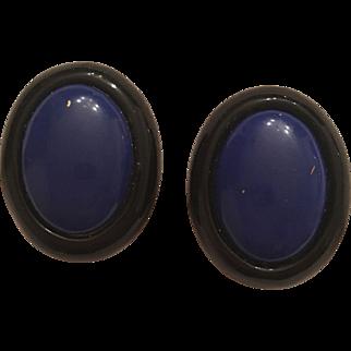 Vintage Kai Yin Lo (Kylo) Onyx & Lapis Clip On Earrings