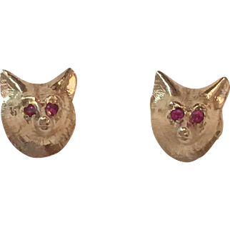 Vintage 14k Yellow Gold Ruby Eyed Fox Earrings