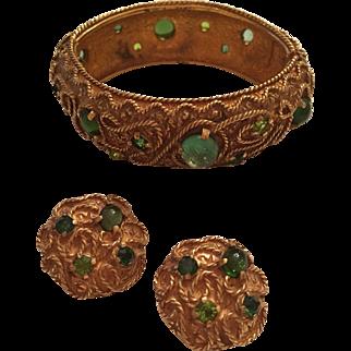 Vintage Castlecliff Rope Design Blue & Green Rhinestone Jeweled Hinged Bangle Bracelet & Earrings Set