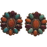 Vintage Native American Sterling Silver Spiny Oyster, Turquoise & Sugilite Cluster Earrings