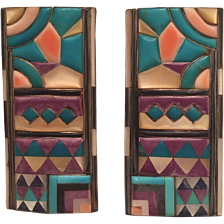 Large Vintage Native American Sterling Silver Turquoise, Mother of Pearl, Spiny Oyster, Sugilite, Lapis, and Onyx Inlaid Earrings