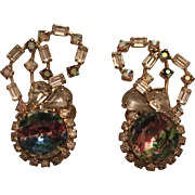 Vintage Hobe Iris Rainbow Rhinestone, Aurora Borealis & Clear Rhinestone Clip On Earrings