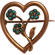 Antique Victorian 15k 15ct Turquoise & Seed Pearl Forget Me Not Flower Heart Brooch