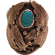 Vintage Native American Sterling Silver Turquoise Eagle Men's Ring Signed EH