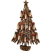 Vintage Signed ART Frosted Christmas Tree With Rhinestone Flame & White Enamel Candles Brooch