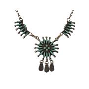 Vintage Native American Sterling Silver Needle Point Turquoise Necklace