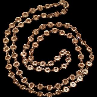 Vintage Art Deco Sterling Silver Open Back Bezel Set Glass Paste Necklace