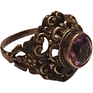 Antique Austro-Hungarian 900 Silver Amethyst Ring