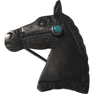 Vintage Native American Sterling Silver Horse Head With Turquoise Brooch