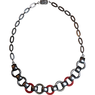 Vintage German Art Deco Jakob Bengel Red Galalith Chrome Plated Necklace Germany