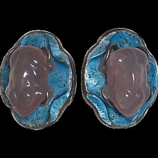 Vintage Chinese Export Sterling Silver Blue Enamel & Carved Rose Quartz Frog Earrings