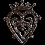 Vintage 1972 Scottish Sterling Silver Luckenbooth Heart Crown Brooch Edinburgh Scotland