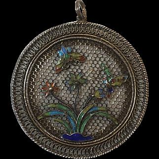 Vintage Chinese Export Gilt Sterling Silver Filigree Enamel Flower & Butterfly Pendant