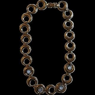 Vintage Symmetalic W. E. Richards Sterling Silver Faux Moonstone Crescent Moon Design Necklace