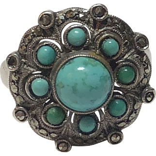 Vintage German Art Deco Theodor Fahrner Sterling Silver Turquoise & Marcasite Ring Germany