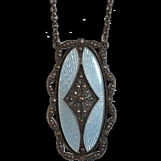 Vintage Art Deco Austrian 900 Silver & Sterling Silver Blue Guilloche Enamel Necklace