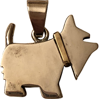 Vintage Mexican Sterling Silver & Brass Scottie Dog Pendant Mexico