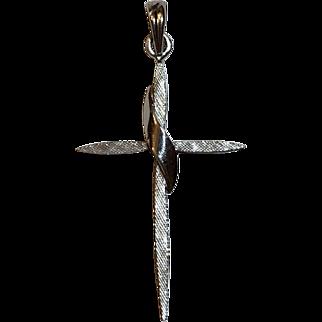 Vintage Esemco 14k White Gold Cross Pendant