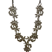 Sterling Silver and Marcasite Vintage Flower Necklace Circa 1950