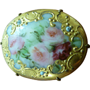 Victorian Hand Painted Porcelain Pin Brooch Fancy Gold Edge