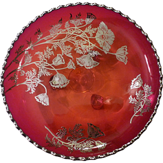 Sterling Silver Overlay on Ruby Red Glass Footed Lemon Dish Flanders Pattern