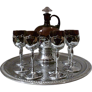 Cambridge Amethyst Glass Faberware Decanter Set with 6 Cordials