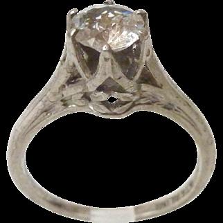Vintage Filigree Sterling Silver High Set Solitaire Crystal Ring