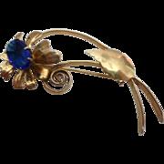 Sterling Silver Vermeil Vintage 1940's Blue Stone Flower Brooch Pin