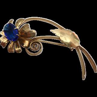 Gold over Sterling Silver Vermeil Vintage 1940's Blue Stone Flower Brooch Pin