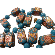 Turquoise Blue Wedding Cake Venetian Rare Square Bead Vintage Necklace