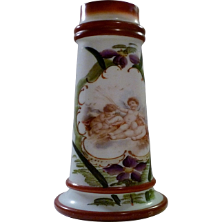 "Bristol Angels Cherubs Hand Painted and Transfer Victorian Tapered 12"" Vase"