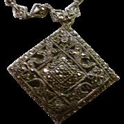 Art Deco Marcasite Sterling Silver Pendant and Marcasite Chain