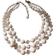Triple Strand White and Crystal 1950's Vintage Necklace with Rhinestone Clasp