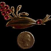 Star Art 1/20  12k GF on Silver Red Rhinestone Spray Pin Brooch 1940's