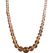 """Art Deco Peach Faceted Crystal Bead Necklace  24"""""""