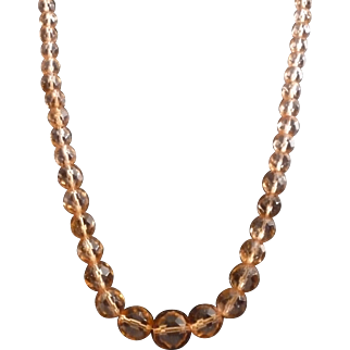 Art Deco Peach Faceted Crystal Bead Necklace  24""
