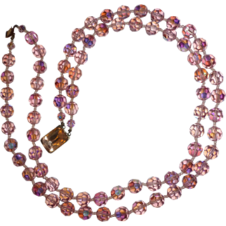 Double Strand Pink Aurora Borealis Bead Necklace Circa 1950's