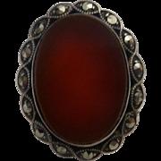 Vintage Flat Oval Carnelian  Bead Set Marcasite Ring Size 9
