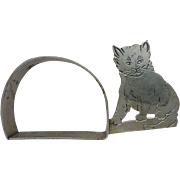 Adorable Vintage Silver Plated Cat Napkin Ring
