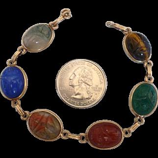 """14k  Scarab Bracelet  7 1/2"""" Genuine Stones"""
