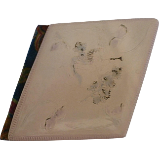 1904 Autograph Book  Celluloid Raised Flower Cover  Flocked Blue Back