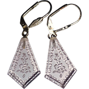 Vintage Lilac Floral Etched Glass Panel Earrings
