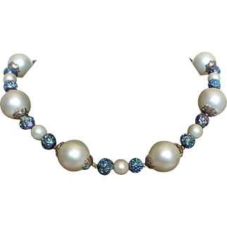 Designer Crown Trifari Pearl and Carnival Glass Beaded Necklace with Leaf Clasp 24""